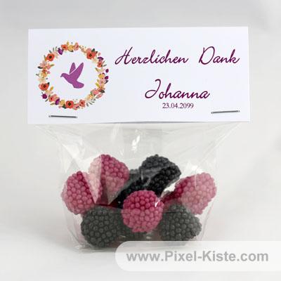 Gastgeschenk gefüllt mit Fruchtgummi