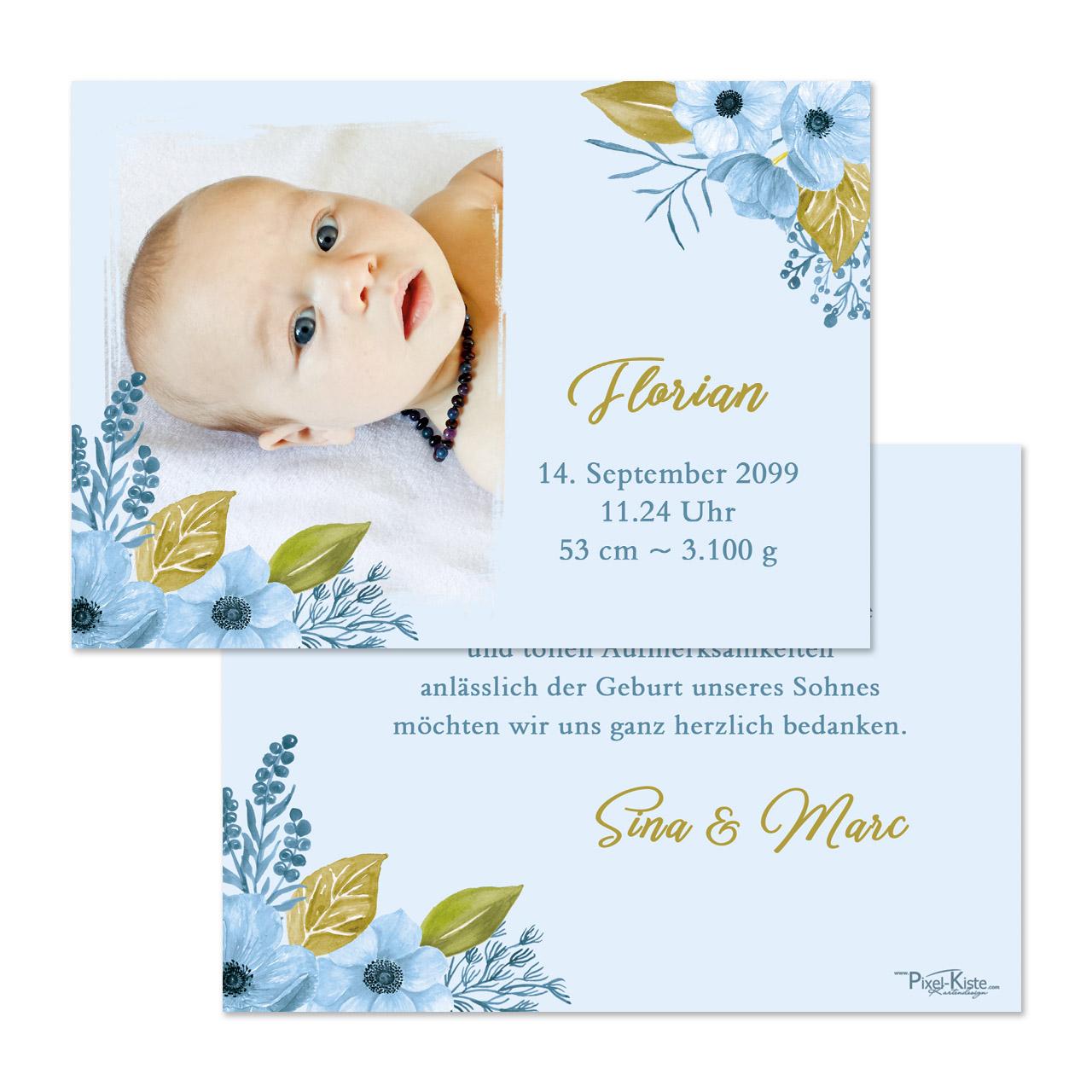 Originelle danksagungskarten zur geburt und taufe - Bettwasche baby junge ...
