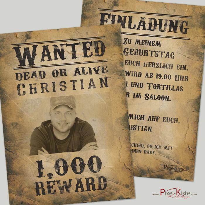 einladungskarten steckbrief/wanted im western-style, Einladung