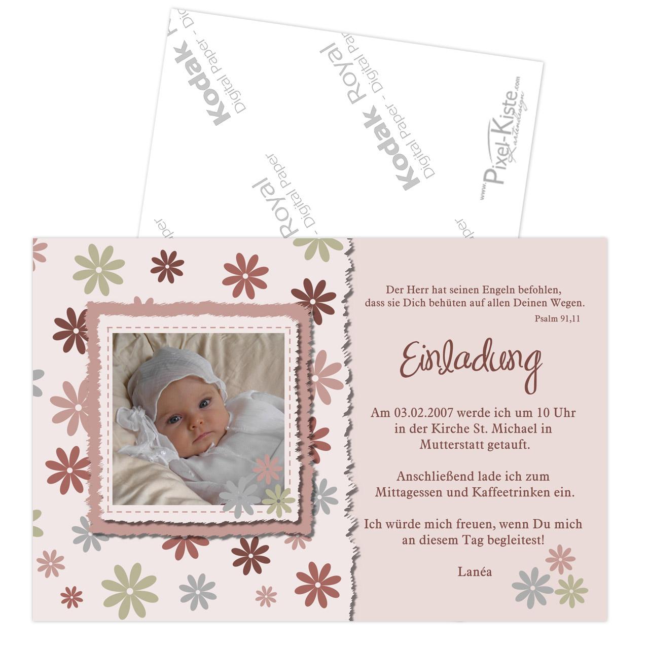Einladungskarten Zur Taufe Rosa Oder Blau Emma Emanuel