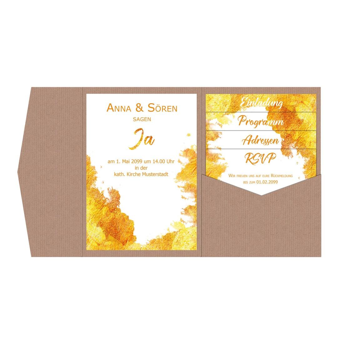 Vorschau edle pocketfold einladungen hochzeit gold drucken lassen