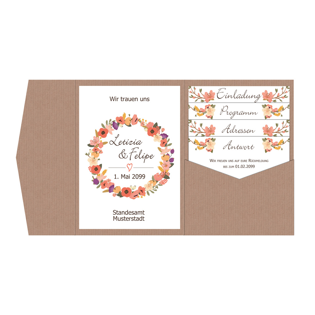 2bd3164495ae6 Pocketfold Einladungskarten Hochzeit Blütenkranz
