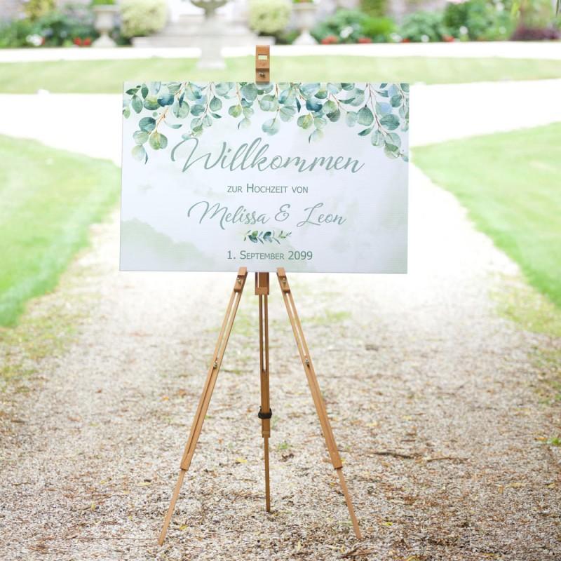Willkommensschild auf Leinwand zur Hochzeit Eukalyptus