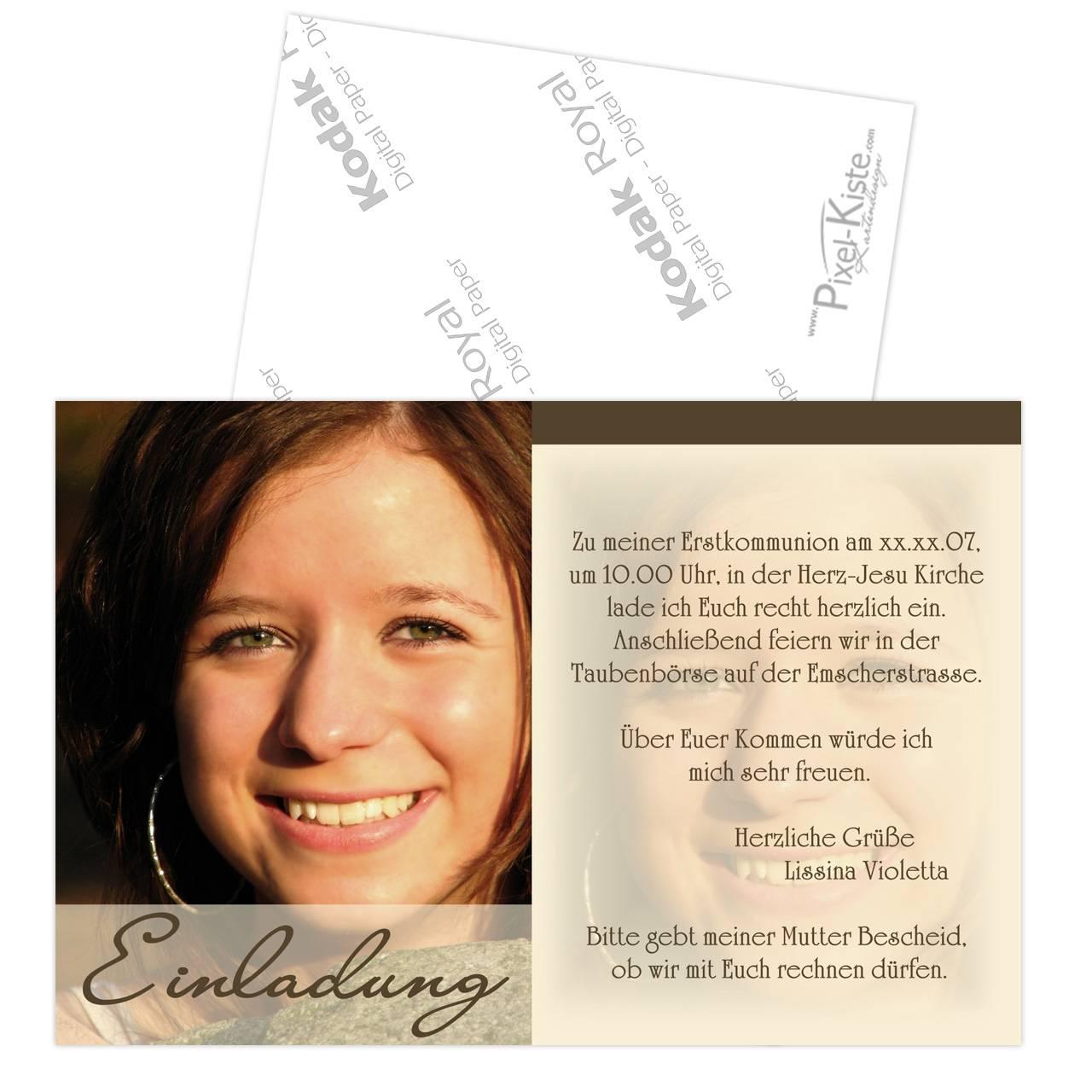 einladung konfirmation kommunion mit foto, Einladung