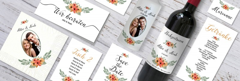 Hochzeitspapeterie mit floralem Design drucken lassen