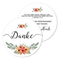 runde Geschenkanhänger florales Design Hochzeit drucken