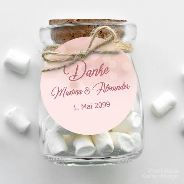 Anhänger Gastgeschenk Hochzeit rosegold Bokeh