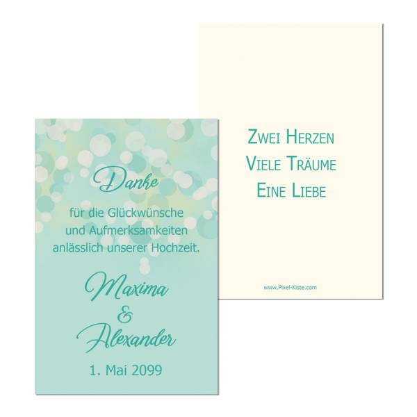Anhänger Gastgeschenk Hochzeit smaragdgold Bokeh
