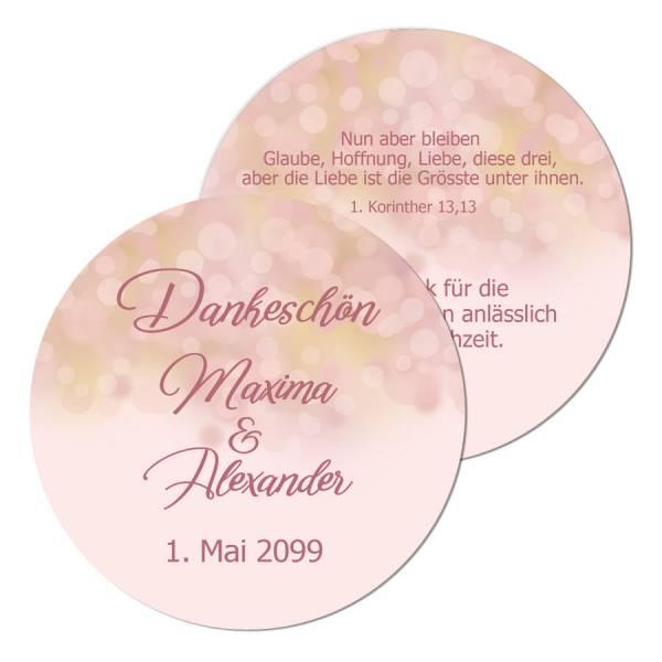Anhänger Gastgeschenke Hochzeit rosegold Bokeh