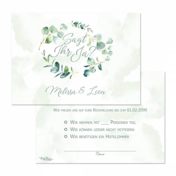 "Antwortkarten mit Eukalyptus ""Melissa & Leon"""