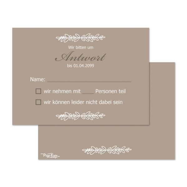 RSVP-Karten Antwortkarten zur Hochzeit vintage beige braun