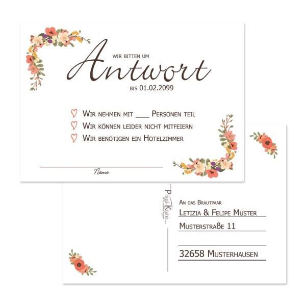 Antwortkarten zur Hochzeit Blütenkranz drucken