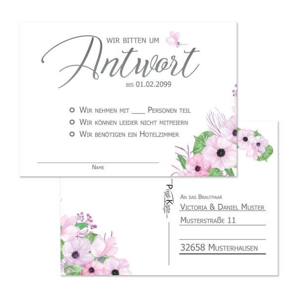 Rückantwortkarten Hochzeit mit Blüten Boho
