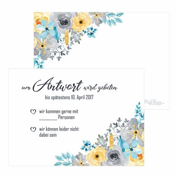 Antwortkarten Hochzeit Aquarell-Blumen