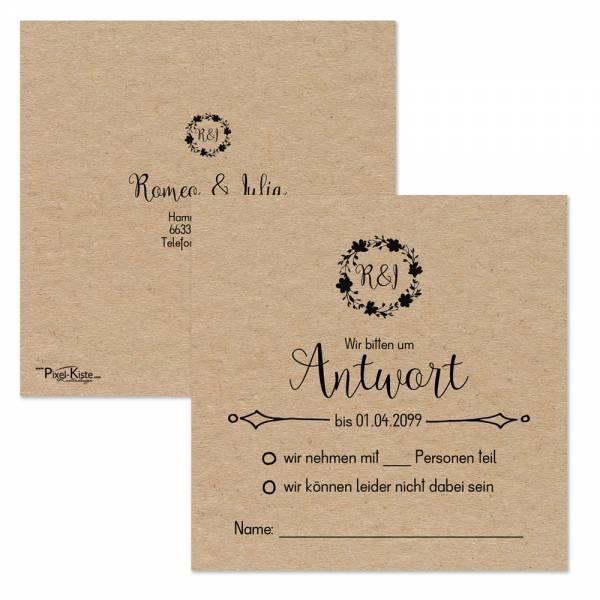 quadratische Antwortkarten Vintage-Style Hochzeit