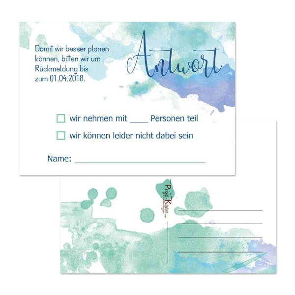 """Antwortkarten RSVP-Karten zur Hochzeit """"Watercolor"""""""