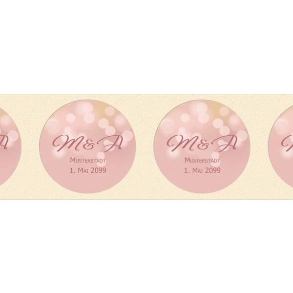 runde Etiketten zur Hochzeit für Gastgeschenke rosegold Bokeh