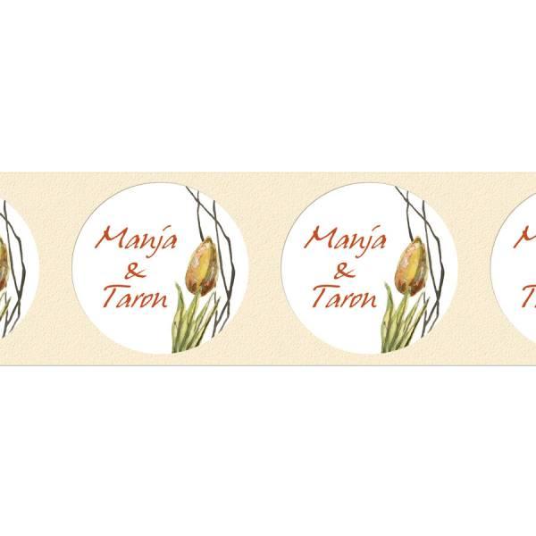 Aufkleber für Gastgeschenke zur Hochzeit Watercolor Tulpe drucken
