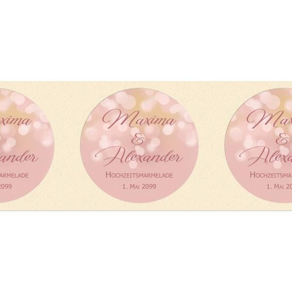 runde Etiketten für Gastgeschenke rosegold Bokeh