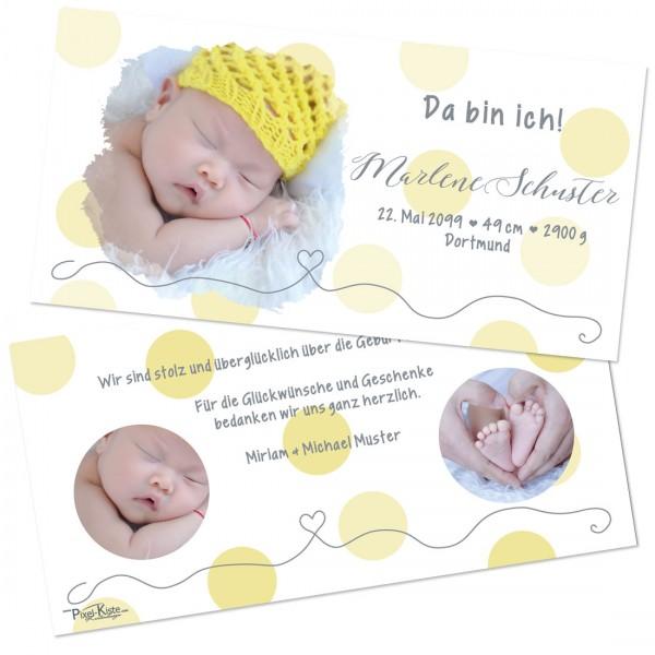 niedliche Babykarten mit Punkten Marlon / Marlene