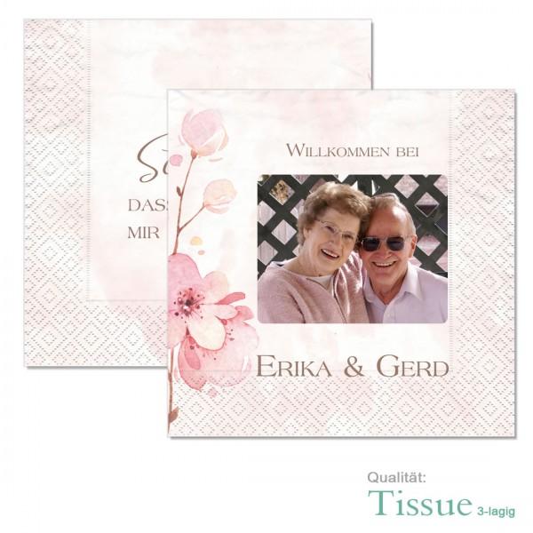 personalisierte Foto-Servietten mit Kirschblüten Geschenkidee