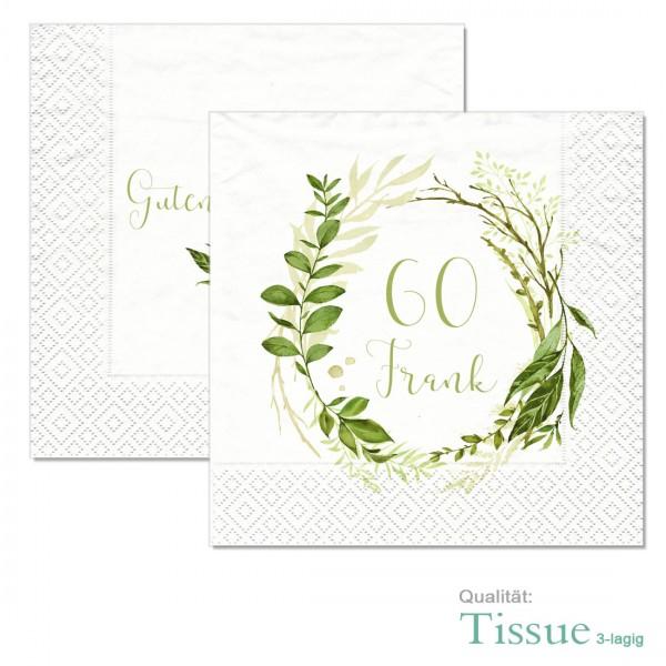 """Geburtstagsservietten bedruckt """"Greenery"""" Tissue-Material"""