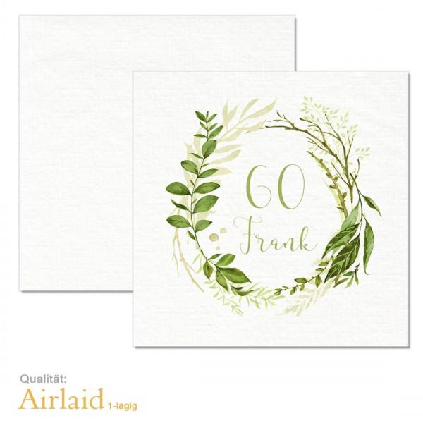 "Geburtstagsservietten bedruckt ""Greenery"" Airlaid-Material"