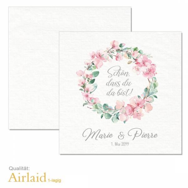 """Servietten bedruckt Hochzeit Kirschblüten Eukalyptus """"Marie & Pierre"""" Airlaid-Material"""