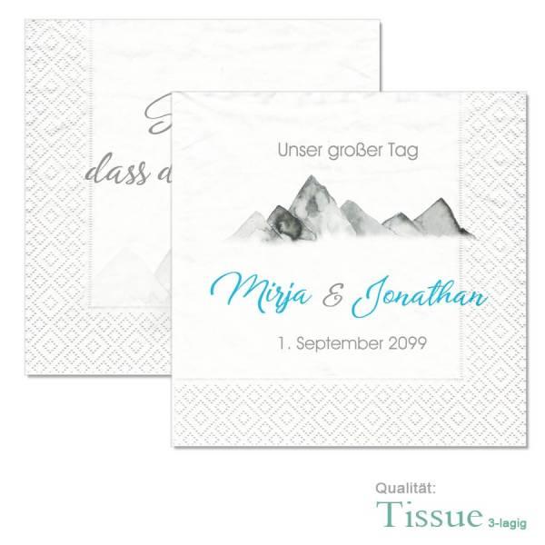 personalisierte Servietten für die Hochzeit in den Bergen online gestalten lassen