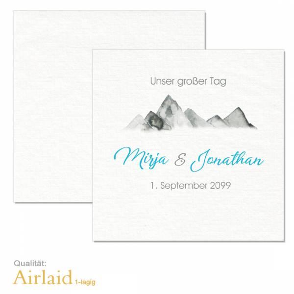 bedruckte Airlaid-Servietten für die Hochzeit in den Bergen online gestalten lassen
