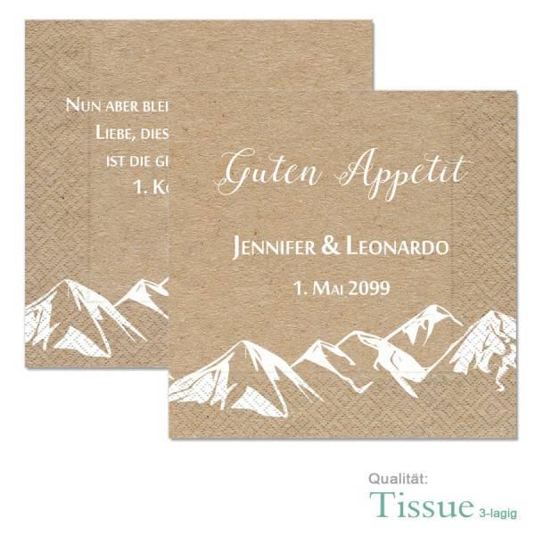 bedruckte Tissue-Servietten für die Berghochzeit online drucken lassen