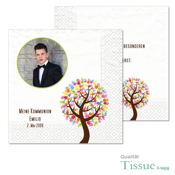 bedruckte Servietten Kommunion Konfirmation Hand Baum