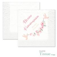 bedruckte Servietten Kommunion Konfirmation mit Kirschblüten und Tauben