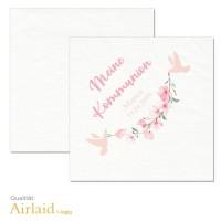 personalisierte Servietten Kommunion Konfirmation mit Kirschblüten und Tauben