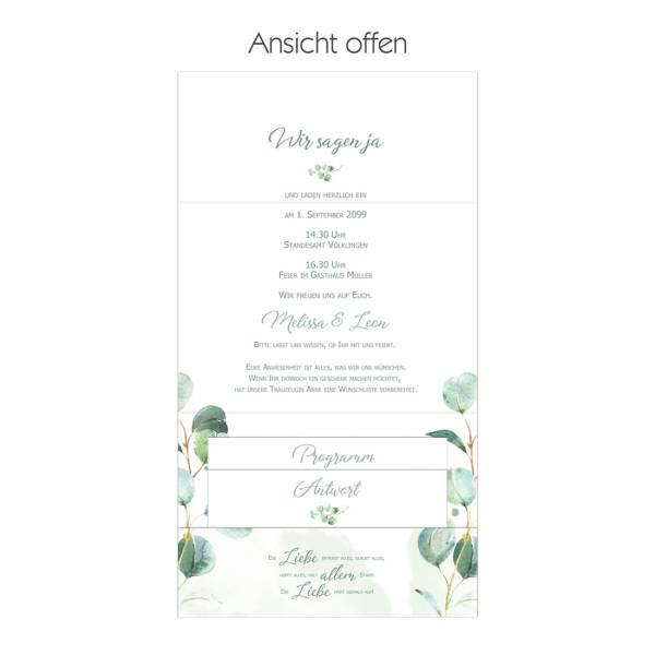bedruckter Pocketfold für die Hochzeitseinladungen mit Eukalyptus gestalten lassen