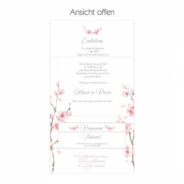 wunderschöner bedruckter Pocketfolder als Einladung zur Hochzeit mit Kirschblüten und Eukalytus