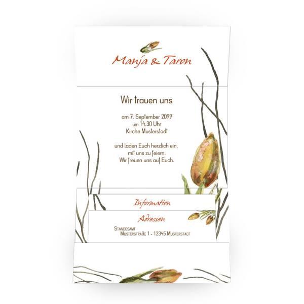 bedruckter Pocketfold Einladung zur Hochzeit Watercolor Tulpe