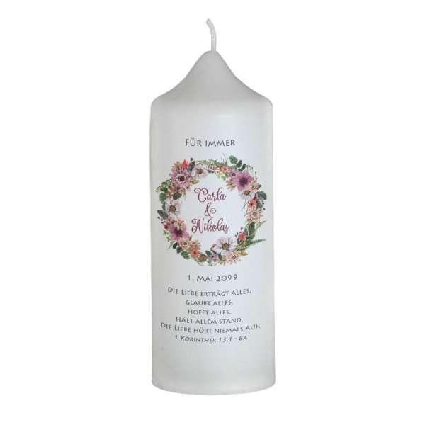 personalisierte Brautkerzen Boho-Stil mit Blüten nach Wunsch gestalten lassen