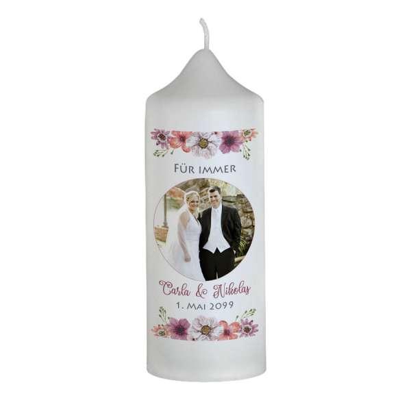 personalisierte Brautkerzen im Boho-Stil mit Blüten und Foto gestalten lassen