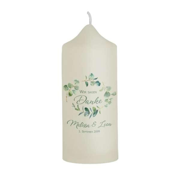 Dankeskerze zur Hochzeit Eukalyptus individuell gestaltet