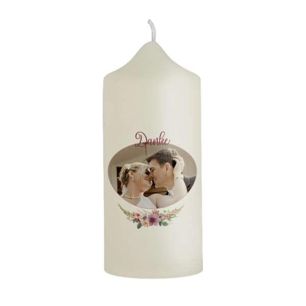 personalisierte Dankeskerzen Gastgeschenk Boho-Hochzeit mit Blüten online kaufen