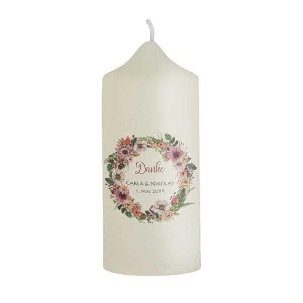Dankeskerze Gastgeschenk Hochzeit Boho mit Blumenkranz online gestalten