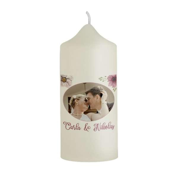 Dankeskerze Boho-Hochzeit Gastgeschenk mit Foto und Blüten online bestellen