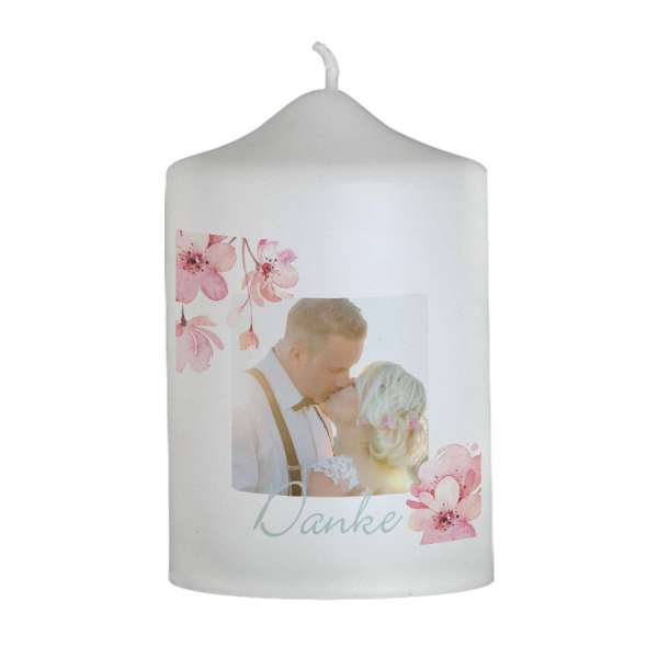 """Dankeskerze zur Hochzeit mit Kirschblüte """"Aurelie & Brandon"""""""