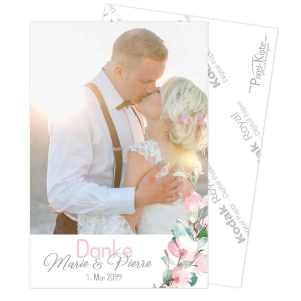 """Danksagung für die Hochzeit mit Kirschblüten und Eukalyptus """"Marie & Pierre"""""""