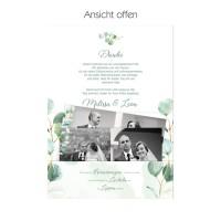 Eukalyptus-Hochzeit Danksagungskarten als Pocketfold mit Fototasche