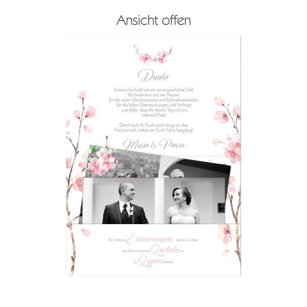 Danksagungskarten als Pocketfold mit Fototasche mit Kischblüten und Eukalyptus