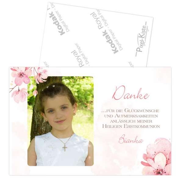 Danksagungen Kirschblüte Jugendweihe Kommunion Konfirmation in Fotoqualität