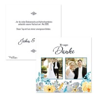Danksagungskarte Hochzeit mit Blüten «John & Yoko»