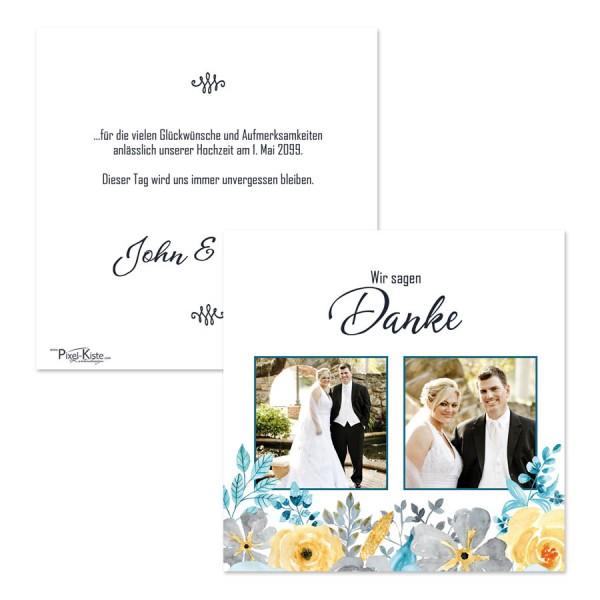 "Danksagungskarte Hochzeit mit Blüten ""John & Yoko"""